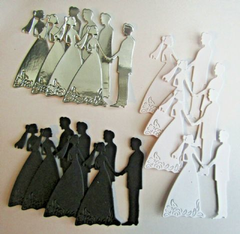 STUNNING BRIDE AND GROOM DIE CUTS FOR WEDDING ANNIVERSARY CARDS PACK OF 4 OR 12